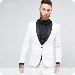 2019 boutons de marié argent White Groom Tuxedo Slim Fit Hommes Costumes pour Costumes de Mariage Homme Blazers One Button Costume Homme 2Piece (Pantalon) Skinny Terno Masculino boutons de marié argent pas cher
