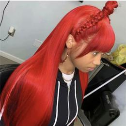 perruques de dentelle bang rouge Promotion Perruques de cheveux humains de dentelle malaisienne #red avec une frange sans enchevêtrement de dentelle perruques de cheveux humains avec des cheveux de bébé soyeux directement pour les femmes