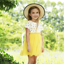 1-6 anni New Baby Girl Dress Solid Giallo Pizzo Princess Dress For Girls Orange Fruit Print Top bambini Patchwork Baby Cloth Set da