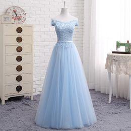 Fuera del hombro Tul Vestido largo de dama de honor con encaje Vestido de fiesta de boda Blush Pink Sky Blue Champagne desde fabricantes