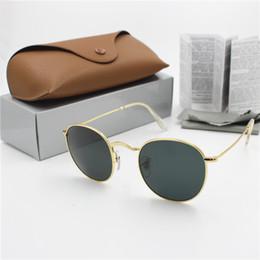 2019 chica de gafas de madera Alta calidad de diseño de moda para mujer para hombre Gafas de sol redondas YXVAXL Marca Gafas de Sol Lentes de metal del oro Negro Oscuro 50mm de cristal Mejor Caso Brown
