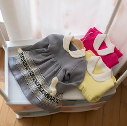 maglieria bambino maglia modello Sconti 2019 Autunno nuove neonate abiti per bambini modello geometrico maglione lavorato a maglia principessa abito bambini bambola lape falbala manica abito F8780