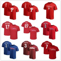 Печать на баскетбольном трикотаже онлайн-Phillies 3 bryce harper 17 Hoskins 27 Баскетбольные майки Nola Philadelphia 7 Мужские дизайнерские футболки Franco Топы фанатов Футболки с логотипом бренда