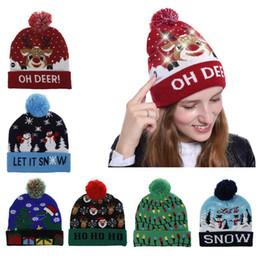 Maglione dei polsini online-Ragazza delle donne della novità LED illumina in su Berretto lavorato a maglia per le vacanze di Natale Maglione Ugly colorato divertenti Patterns Pompon Beanie con risvolto del cappello regalo