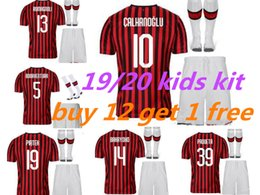Mejores uniformes de futbol online-Mejor calidad ac 2020 milan kids Soccer Jersey kit 19/20 HIGUAIN CALHANOGLU ROMAGNOLI CUTRONE camiseta de fútbol infantil uniforme