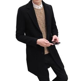 2019 mens di cappotto incappucciato a lana singola 2019 Nuovo Inverno cappotto di lana di svago degli uomini lunghi tratti di lana cappotti Mens Pure Color modo casuale giacche / casuale degli uomini Overcoat