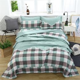 3d bettwäsche gesetzt grüner könig Rabatt Bean Green Plaid 3D Bettwäsche-Sets gedruckt Bettbezug Set 3pcs / Set Queen King Twin Size