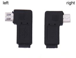 Adaptador hembra usb de ángulo recto online-100pcs ángulo recto izquierdo Micro USB macho de 90 grados USB macho a Micro enchufe hembra Adaptadores