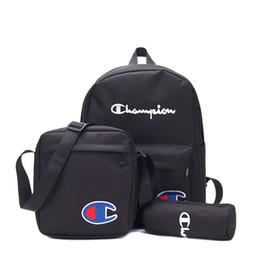 Sacchetti portatili portatili online-3 pezzi 1 set lettere zaino scuola studente borsa uomo donna viaggi sport borse a tracolla portatile borsa portatile zaino KKA7145