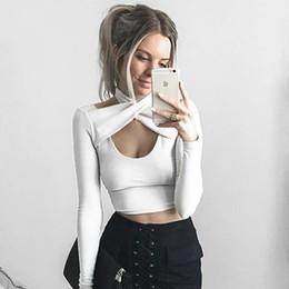 camisa sexy de corte bajo negro Rebajas 2019 Mujeres de la Fiesta de Invierno Camisa de Corte Bajo Sexy Club Nocturno Hombro Mini Bodycon Tops Negro Vendaje Tees Niñas Sexy Camisetas