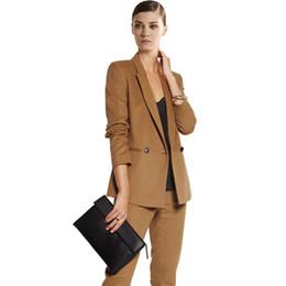 herbst orange frauen blazer Rabatt 2019 Autumn Arbeits Hose-Klagen Frauen Reverskragen Blazer-Jacken-Bleistift Hose 2-teiliges Set Khaki Weiblicher Anzug Befree