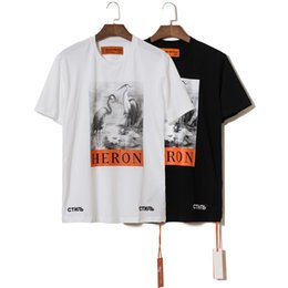 2faa1406 Heron Preston T-shirt Men Women t shirt Harajuku tshirt Hip hop Streetwear  Brand Summer Cotton Clothing Ink Crane Printed Tees Tops Causul