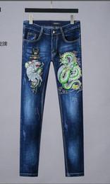 2019 dragon de style américain Jeans pour hommes 2020 printemps et automne nouvelle broderie de tigre dragon de style européen américain promotion dragon de style américain