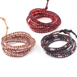 bracelets en cristal d'hématite Promotion Perle de cristal exquise or hématite Perles 5 bracelets de pellicule de cuir recouvert de bracelet Bracelet de tissage antique