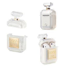 Caixa de perfume maçã de garrafa on-line-Para a apple design da marca forma de garrafa de perfume casos airpods transparente moda fone de ouvido caso protetor 02