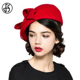 ed62b37d27b7 FS Elegant 100% Wool Felt Fedora White Black Ladies Red Hats Wedding  Fascinators Women Bowknot Berets Caps Pillbox Hat Chapeau D19011102