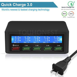 lcd iphone 4.7 Coupons - 50W Quick QC 3.0 Charge 5 Port Smart LCD USB Charger Adapter Station Fast Charger For iPhone 7 Samsung S10 Xiaomi Phone