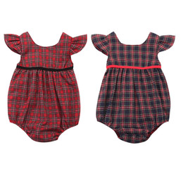 d6ed79ee8 Cute Newborn Baby Girls Plaid Romper Fly Sleeve Loose Cotton Jumpsuit  Outfits Sunsuit Baby Clothing