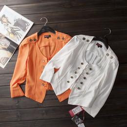Casaco de laranja cor mulheres on-line-2019 nova cor sólida branco orange chiffon o pescoço mulheres cardigan 3/4 manga elegante botão feminino jaqueta senhora escritório desgaste n43