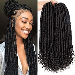 Haarverlängerung synthetisch 1b online-16 Zoll Faux Locs häkeln Haar Göttin Locs häkeln Flechten Haarverlängerung mit lockigen Enden natürliche weiche synthetische Haare (16 Zoll / # 1B)