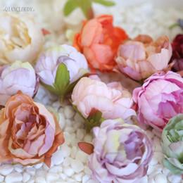 Peonies bud on-line-100 peças DIY seda Retro flores artificiais Cabeças de flor Peony bud europeus para o casamento Garland D25 C18112601