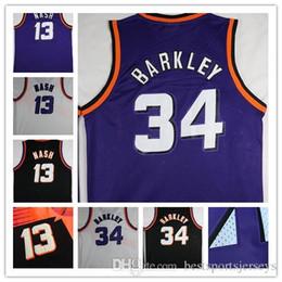 2019 lila schwarzer baseball jersey Mens Throwback die Chuckster 34 Charles Barkley 13 Steve Nash Jersey Lila Weiß Schwarz genähte Hemden Basketball-Trikots rabatt lila schwarzer baseball jersey