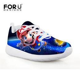 FORUDESIGNS Super Mario Jeux Impression Bande Dessinée Enfants Sport Chaussures Flats Mesh Enfants Chaussures de Football pour Garçons Filles Sneakers En Plein Air ? partir de fabricateur