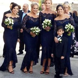 Старинные кружева темно-синий Русалка невесты Платья с плеча чай длина 2019 на заказ плюс размер с длинными рукавами фрейлина платье от Поставщики фиолетовые платья дама