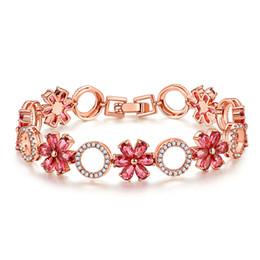 bunte rosenblüten Rabatt MOONROCY Rose Gold Farbe Bunte Armband Kristall Zirkonia Böhmen Blume Schmuck Armreif für Mädchen Frauen Dropshipping