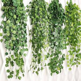 Vigneti decorativi online-Garden Handing Vine Leaves Piante di erba artificiale Fiore finto Wedding Party Festive Decorazione decorativa Decorazione da parete WX9-1416