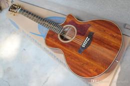 Guitarra electrica top natural online-De calidad superior K24CE Natural Guitarra Acústica Musical superior de la guitarra eléctrica instrumentos de captación EQ wiht