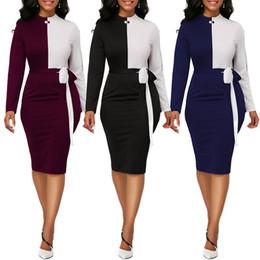 Argentina Vestido de manga larga de color a juego para mujer Vestido con cuello alto Vestido ajustado Moda Vestidos de negocios elegantes Vestidos de oficina para damas Paquete Vestido de cadera Suministro