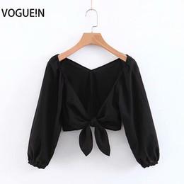 2019 camisas pretas grossistas para mulheres Vogueue new womens sexy profundo decote em v 3/4 preto / branco curto top camisa blusa atacado camisas pretas grossistas para mulheres barato