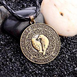 Collar de talismán online-Collar colgante de pájaro para mujer Collar vikingo maravillosamente Collar de mitología Talismán Collar de cuero