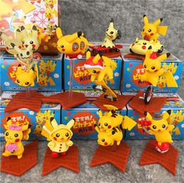 Enfeites de duende on-line-10 pçs / lote Pokemons Elf Pikachu boneca PVC figuras de ação enfeites decorativos para crianças brinquedos para presentes das crianças brinquedos infantis
