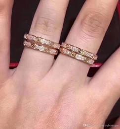 2019 кольцо из желтого золота 14к S925 чистого серебра Высочайшее качество парижский дизайн узкое широкое кольцо с ромбовидной формы украсить печать логотипа шарм женщины свадебный подарок ювелирных изделий в 5 # -8 #