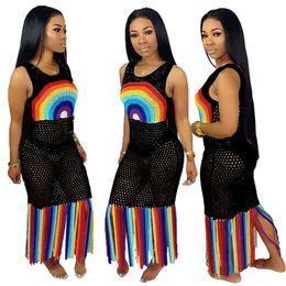 Vestido de ropa de playa cubrir falda online-Vestido de malla de las mujeres ahueca hacia fuera los vestidos largos de la borla Ropa de playa Verano Color del arco iris Falda de Bodycone Trajes de baño Biniki Encubrimientos S-3XL A52106