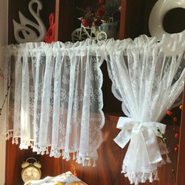 Varas de cortina de bolso on-line-Curto Tule Cortinas para Cozinha Acabamento Branco Flutuante Tule Sheer Cortina de Fios de Bolso de Bolso para Armários Cortina Curta porta