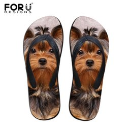 Zapatos rosa para perros online-FORUDESIGNS 2018 Moda Verano Beach Beach Chanclas Zapatillas de mujer Cute 3D Pet Cat Dog Terrier Sandalias estampadas Lady Flats Shoes