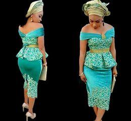 pizzo usura stile nigeriano Sconti Arabian Nigerian Style Lace Peplum prom dresses 2019 abiti da cocktail party abiti da sera abiti da cerimonia Abendkleider Ankle Length Back Split