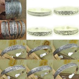 Antic Tibétain Plaqué Argent Tibet Totem Bangle Bijoux Manchette Large Bracelet Femmes \