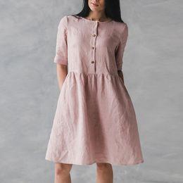2019 bürokleid knie ärmel Frauen-beiläufige O-Ansatz Kleid Vintage Short Sleeve Taschen Knee Kleid Büro-Dame Loose Knopf Femme Urlaub Vestidos günstig bürokleid knie ärmel