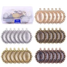 Bandejas pingente oval on-line-60 Pcs Bandejas de Pingente 30 Pcs 5 Cores Bandejas de Pingente Oval bisel com 30 Pcs de Vidro Dome Telhas para Artesanato Fazer Jóias DIY