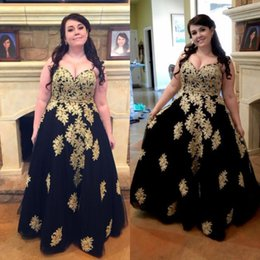 cd9f49603e Black Plus Size Prom Dresses Sweetheart aline Gold Appliques Long Evening  Gowns For Fat Women Sexy Special Occasion Formal Dress Classy 2015