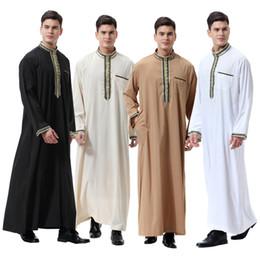 Männer abaya online-Muslimische Männer Abaya Stehkragen Türkische Kaftan Applique Roben Islamische Kleidung Dubai Naher Osten Arabische Mann Tragen DK739MZ