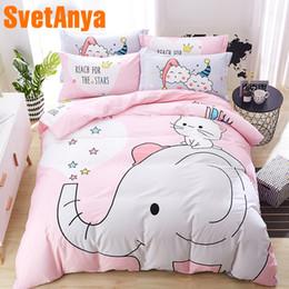 cama de elefante define algodão Desconto tamanho Svetanya Pink Elephant Set cama puro algodão Rainha Double Single Lençois