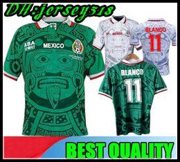 Mexiko fußball uniformen online-1998 MEXICO RETRO VINTAGE BLANCO Hernandez Blanco Campos Trikots Uniformen HOME weiß Trikots Hemd camiseta futbol