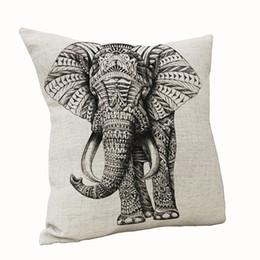 Canada Nouvelle Arrivée Vintage Style Animal Sauvage Taie D'oreiller En Lin En Lin Chaise Chaise Siège Taille Carré Éléphant Motif Taie D'Oreiller Accueil supplier elephant pillow pattern Offre