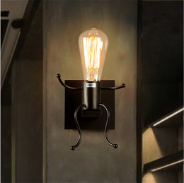 bedside wall light iron Coupons - Nordic retro wall lamp creative living room children's bedroom decoration personality stair bedside wrought little iron man wall light - M43