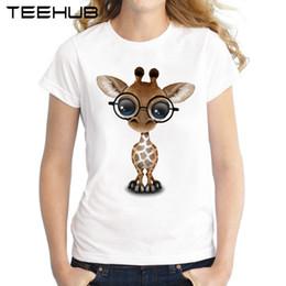 2019 occhiali da giraffa 2018 Carina giraffa curiosa con gli occhiali T-Shirt da donna Moda estiva Top da donna T-Shirt stampata a maniche corte Novità T-Shirt sconti occhiali da giraffa
